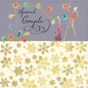 Couple Christmas Card with Gold Foiling, Contemporary Design and Red Envelope KIS35
